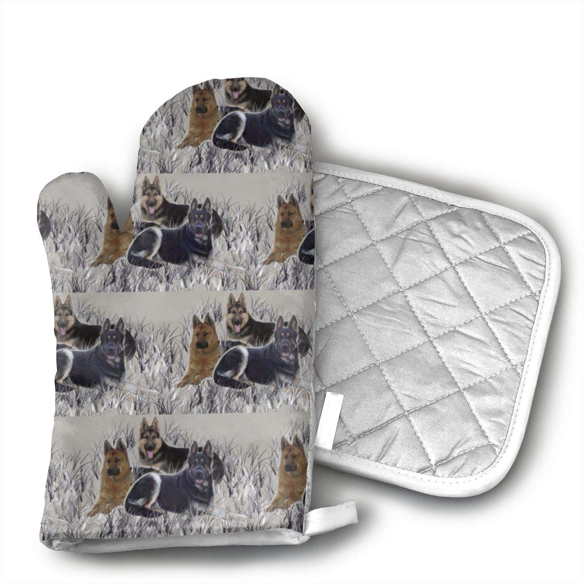 German Shepherds Oven Mitts Heat Resistant Kitchen Gloves and Potholders BBQ Gloves-Cotton Pot Holders Non Slip Oven Gloves for Kitchen