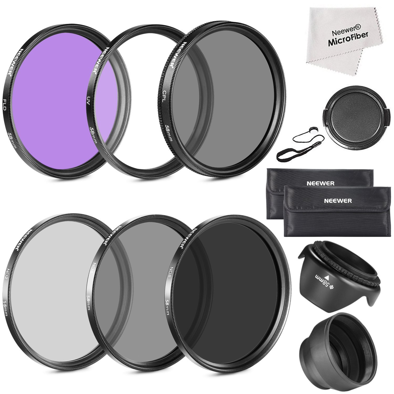 Neewer 58MM Lens Filter Accessory Kit (UV, CPL, FLD) for