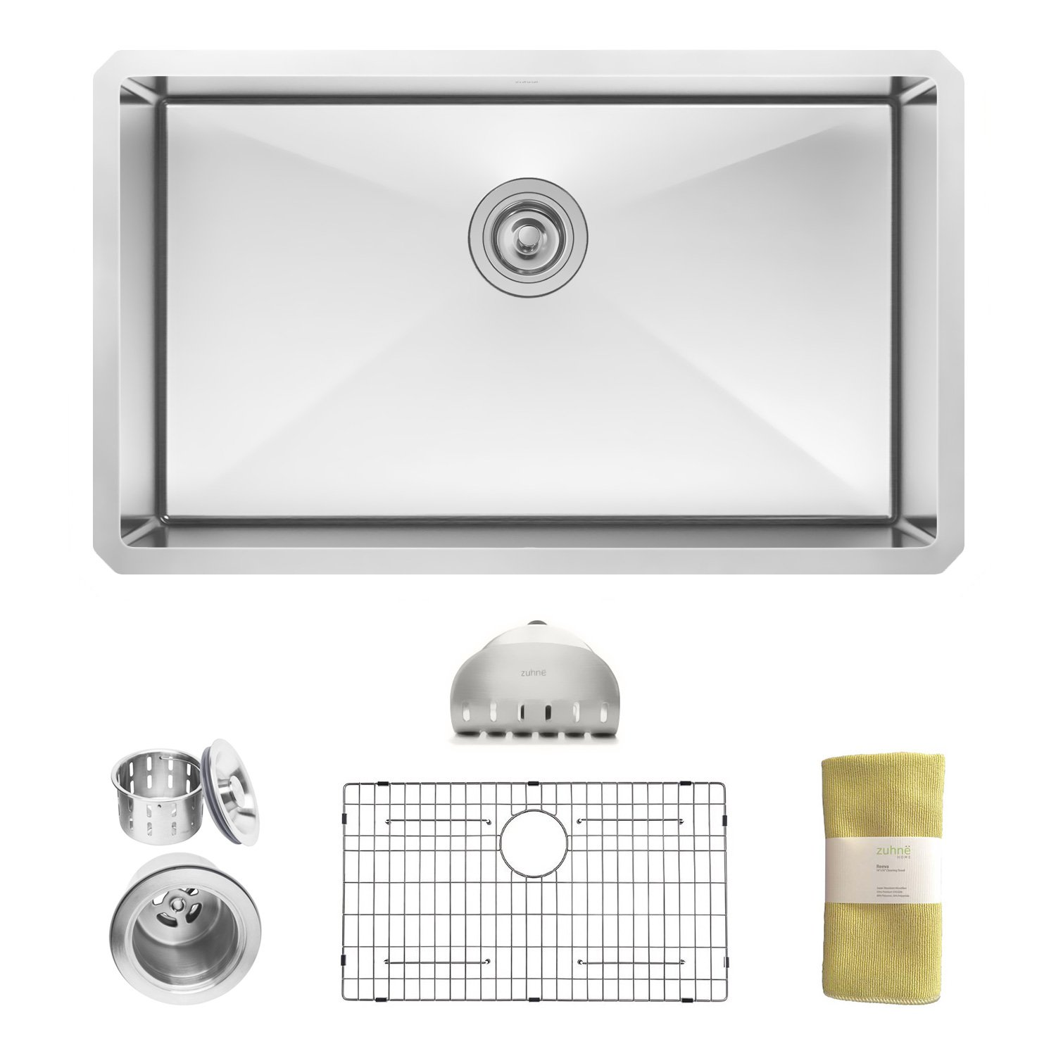 10 inch deep stainless steel kitchen sink zuhne 32 inch undermount single bowl 16 9679