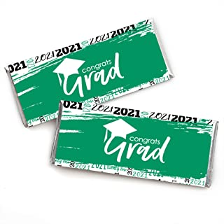 product image for Big Dot of Happiness Green Grad - Best is Yet to Come - Candy Bar Wrapper Green 2021 Graduation Party Favors - Set of 24
