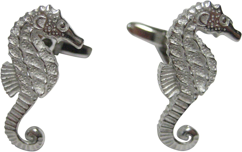Kiola Designs Silver Toned Small Textured Sea Horse Cufflinks