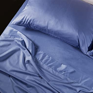 Living Fresh King Sheets - Blue Luxury Hotel Bed Sheets Set - Silky, Soft, Breathable - Lightweight Tencel+ Plus Lyocell Eucalyptus & Botanical Fibers, Inhibits Dust Mites with Anti-Pilling