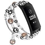 V-Moro 兼容 Charge3 表带,时尚珠宝手镯弹性串珠珍珠表带三星 Fitbit Charge 3 智能手表 黑色