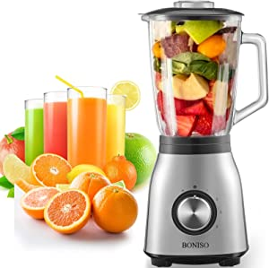 BONISO Countertop Smoothie Blender, High Speed Blender for Kitchen with 51Oz Glass Jar 6 Stainless Steel Blade ,1000w Household Blender with 4-Speed and Pulse Function for Smoothies, Nuts, Ice and Fruits (CY-208)