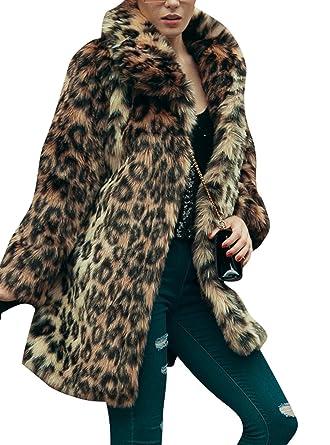 223655a388d2 Women's Leopard Sexy Faux Fur Jacket Coat Long Sleeve Winter Warm Fluffy  Parka Overcoat Outwear Tops