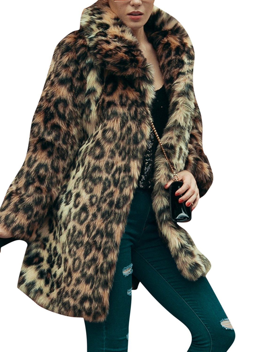 Women's Leopard Sexy Faux Fur Jacket Coat Long Sleeve Winter Warm Fluffy Parka Overcoat Outwear Tops (US 8 = Asian XL)