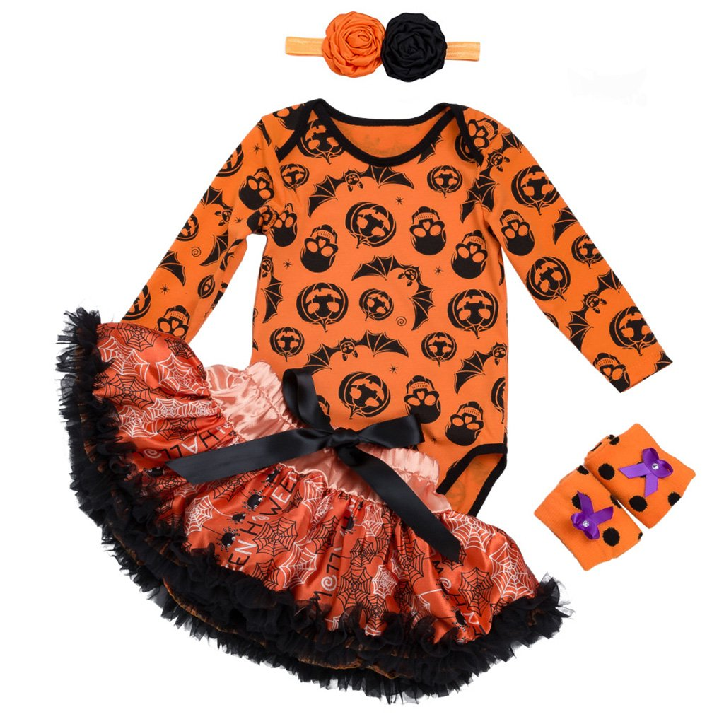 4 Pezzi Bambina Halloween Pagliaccetto Maniche Lunga + Tutu + Fascia + Scaldamuscoli 0-3 Mesi ShenzhenWindyTradingCo. Ltd