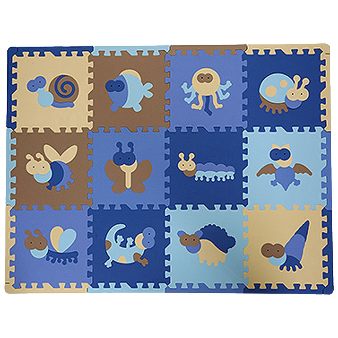 Partiss 12 Pcs Kids Puzzle Crawling Animal Insect EVA Foam Floor Play Game Mats(One Size, AnimalA) CA2016JJH030