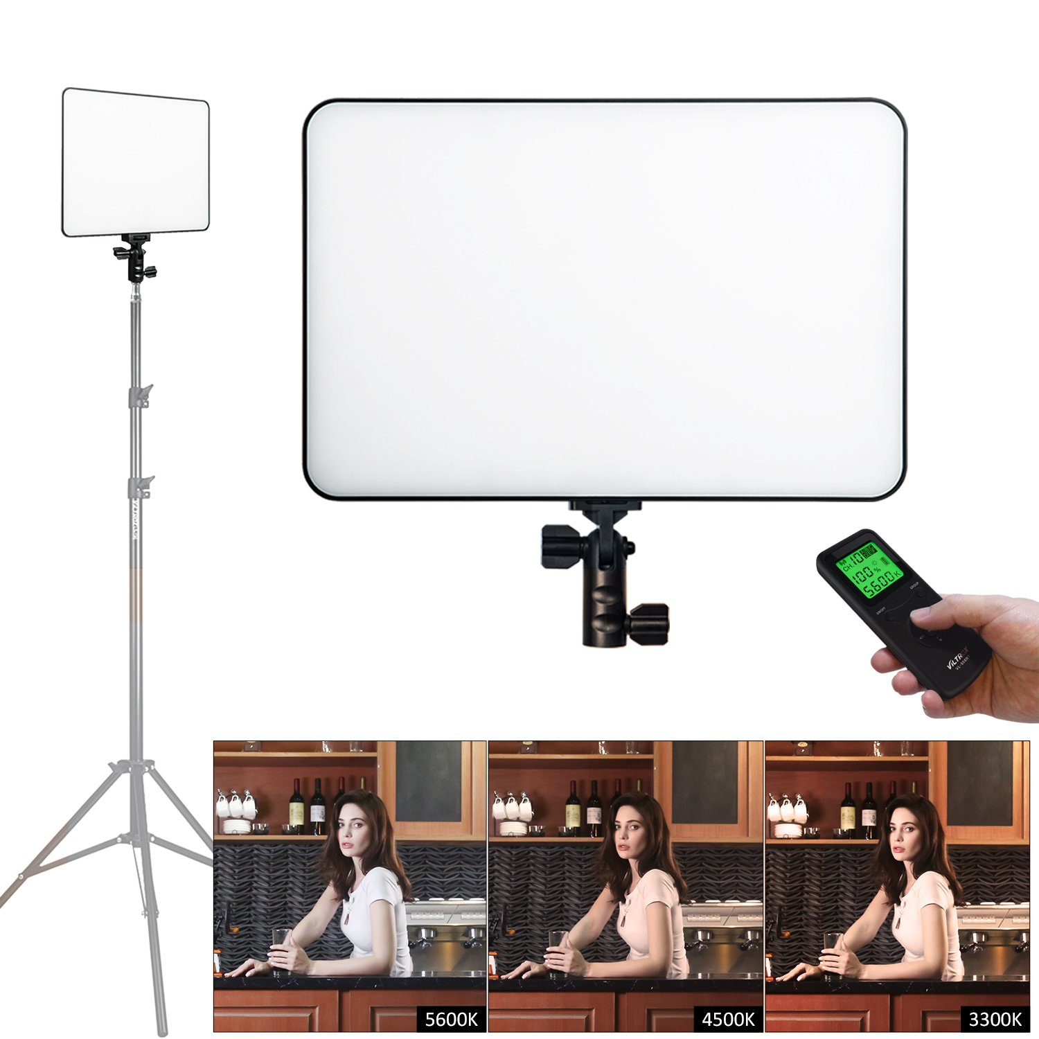 VILTROX VL-400T Super Slim Bi-color LED Video Light Panel, Dimmable LED Camera Light Lamp for DSLR Camcorders Photo Studio Photography, 5600K~3300K, CRI95, LCD Display Screen, Wireless Remote Control,