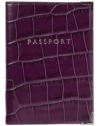 3ec9d2b96 Aspinal of London Ladies  Plain Passport Cover   Purple Croc  Amazon.co.uk   Clothing