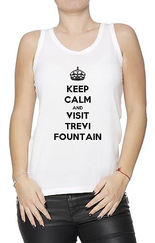 Keep Calm And Visit Trevi Fountain Mujer De Tirantes Camiseta Blanco Todos Los Tamaños Women's Tank ...