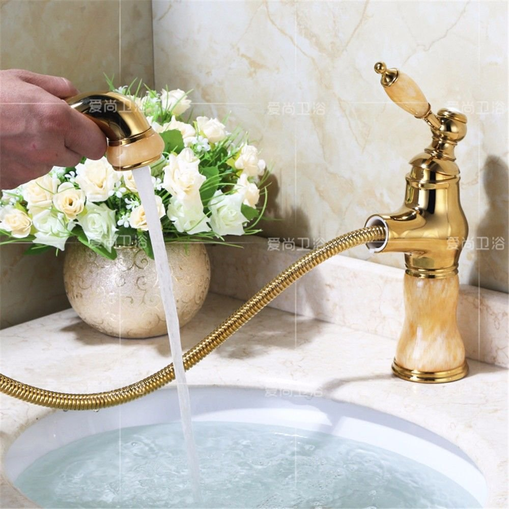 Lalaky Taps Faucet Kitchen Mixer Sink Waterfall Bathroom Mixer Basin Mixer Tap for Kitchen Bathroom and Washroom Jade Brass gold Pulls Hot and Cold Antique