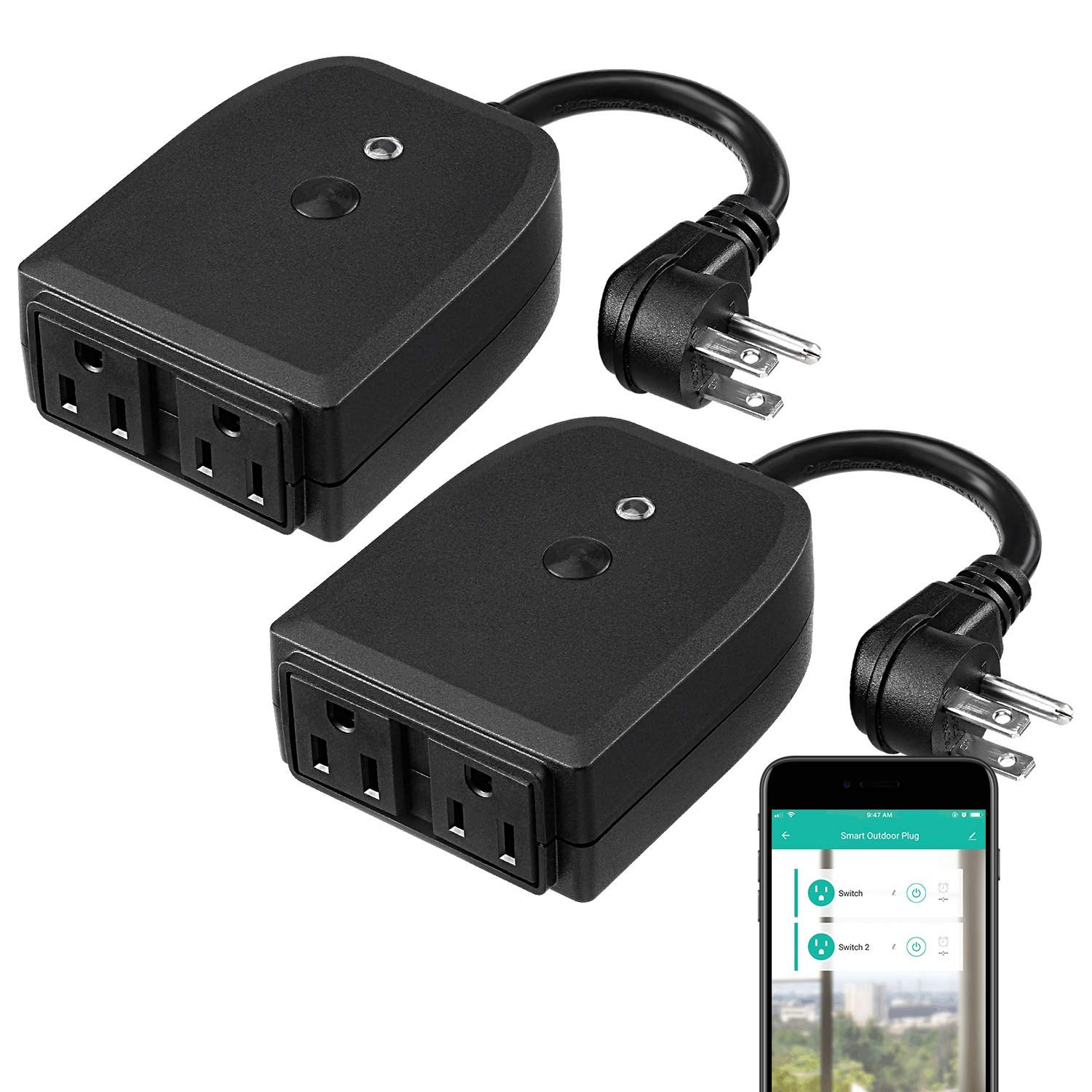 LITEdge 2-in-1 Outdoor Smart Plug, Waterproof Smart Outlet Socket, Compatible with Google Home & Alexa, WiFi Outdoor Plug Power Outlet, APP Wireless Remote Control Available, Pack of 2