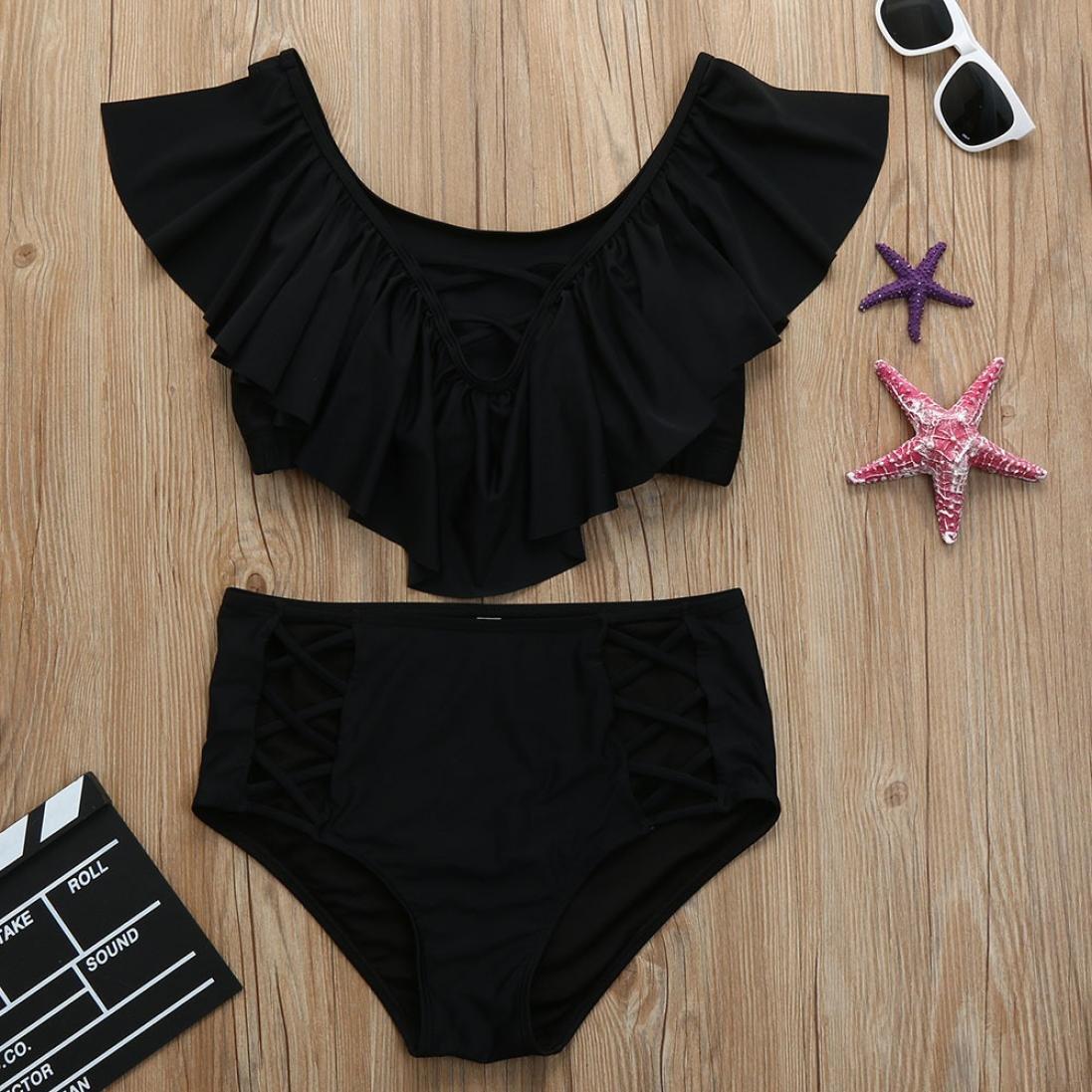 RAISINGTOP Plus Size Swimwear for Women Two Pieces Print Bathing Tankini Ruffle Top Swimsuit Off Shoulder Beachwear
