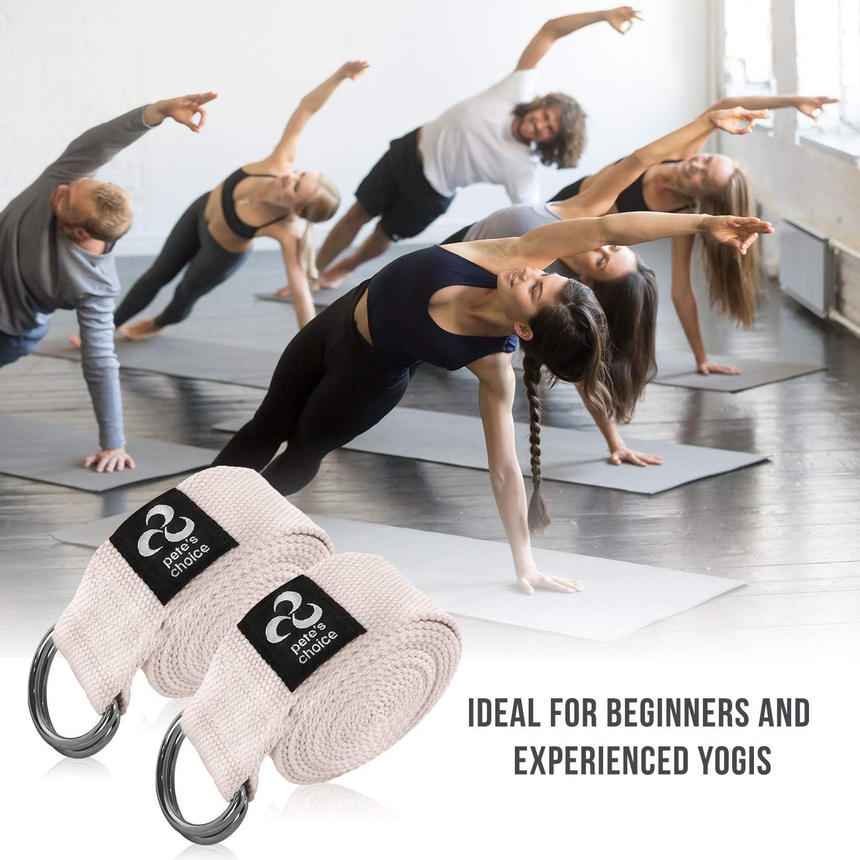 petes choice 2 ER Pack 2,4m anpassbare Yogagurte aus Baumwolle mit D-Ring Yoga und Fitness Training I F/ür Dehnungen mehr Flexibilit/ät und Gleichgewicht I Yoga Strap INKLUSIVE eBook I F/ür Pilates
