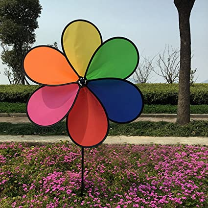 Amrka Decorative Windmills For The Yard Colorful Rainbow Flower Spinner  Wind Outdoor Decor Toy Game For