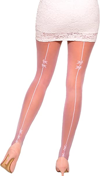 Kids Sheer Patterned White Tights by Lady Kama