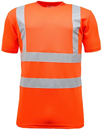 Supertouch Orange Yellow High Vis Visibility Mens Work Polo Shirt Short Sleeve