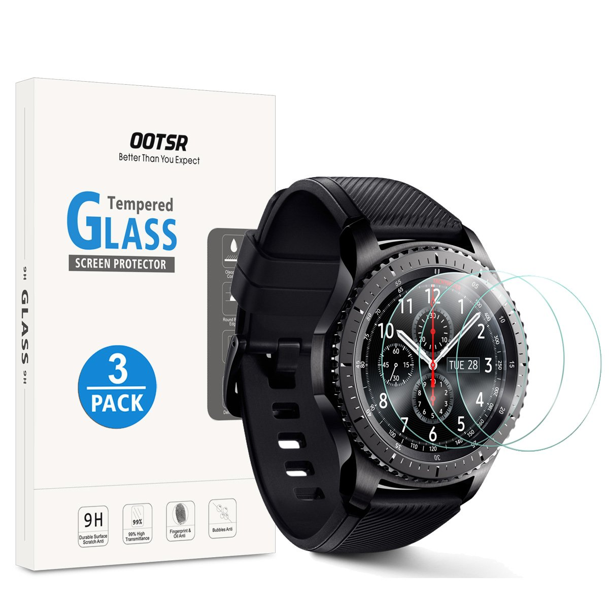 best cheap 81926 4c24d OOTSR Samsung Gear S3 Screen Protector, (3 Pack) Waterproof Tempered ...