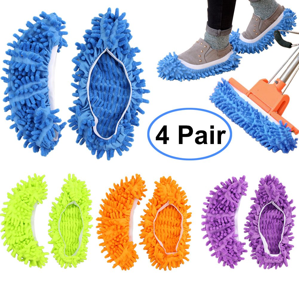 Bontip 4 Pairs (8 Pieces) Unisex Washable Dust Mop Slippers Shoes Microfiber Cleaning House Mop Slippers Multifultional Floor Cleaning Shoes Cover for House Kitchen Office (Free Size)