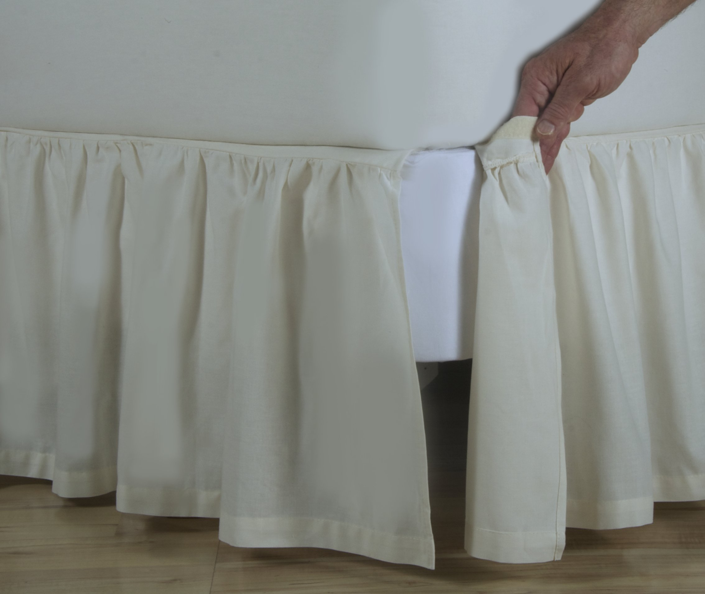 D. Kwitman & Son Cotton Gathered Detachable 18'' Drop Bed Skirt, King, Natural