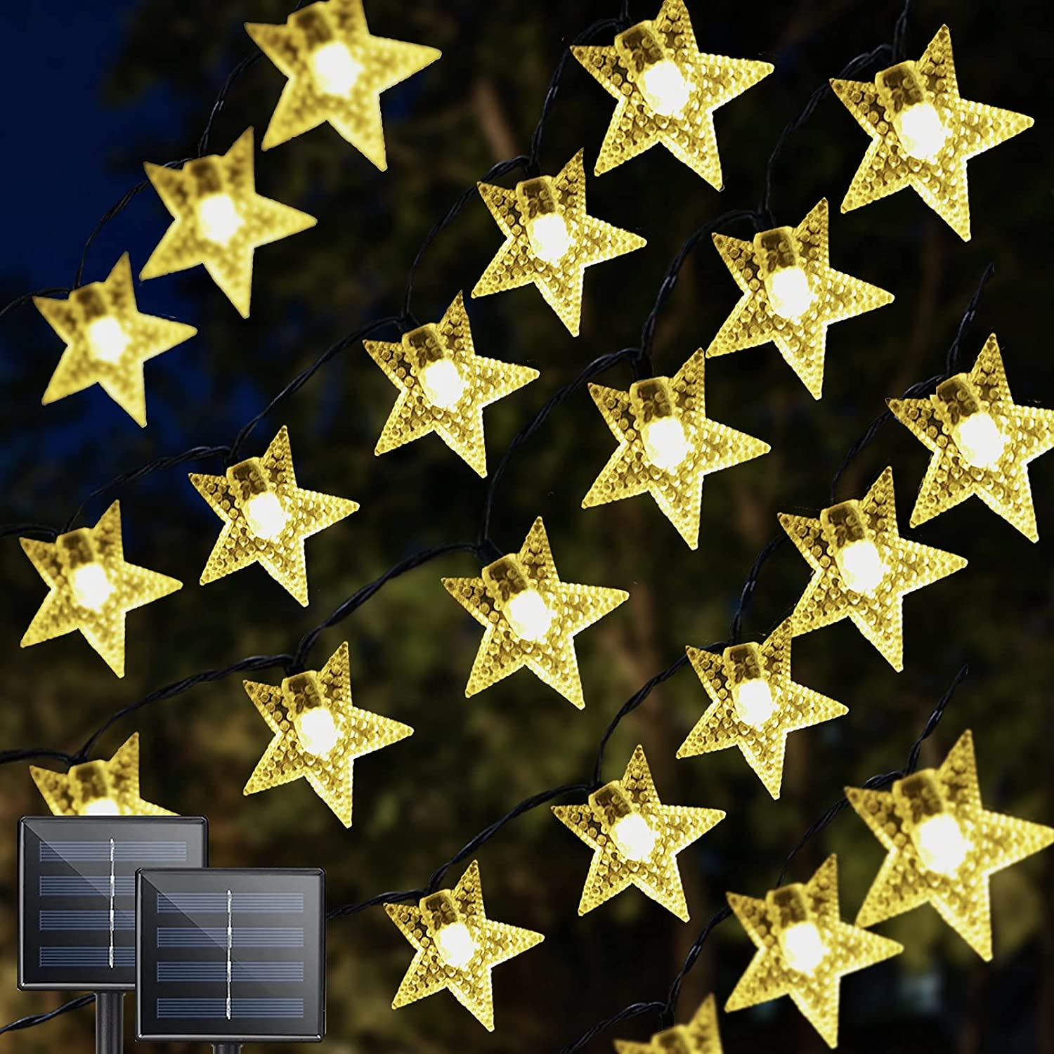 2-Pack Solar Star String Lights Outdoor Each Pack 39FT with 100 LED, Upgraded Brightness Waterproof 8 Modes Solar Christmas Lights Outdoor Indoor for Home Wedding Birthday Party Tree (Warm White)