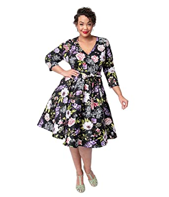cdb38cb6325 Image Unavailable. Image not available for. Color  Plus Size 1950s Black  Floral Cotton Sleeved Gloria Swing Dress