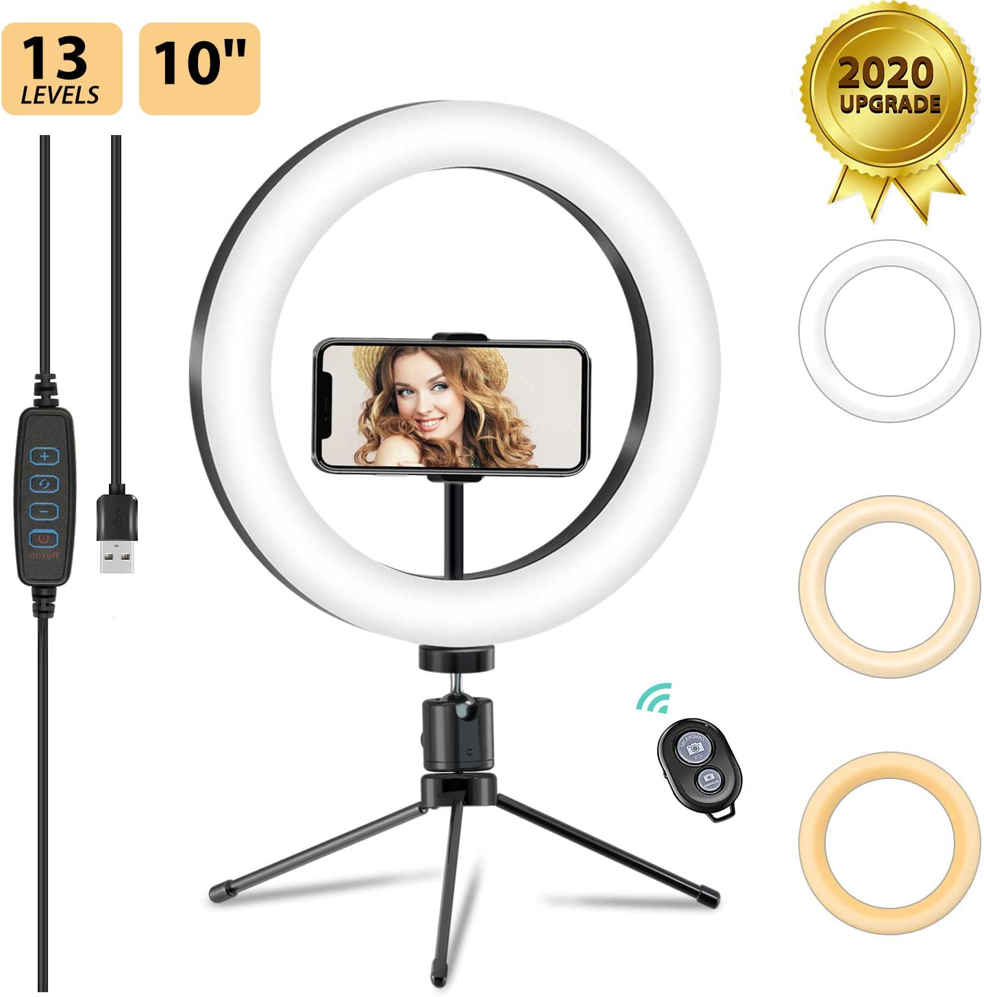 """10"""" LED Ring Light with Tripod Stand & Phone Holder for Live Streaming & YouTube Photography Video, 13 Brightness Levels Dimmable Desk Makeup Ring Light for iPhone Android"""