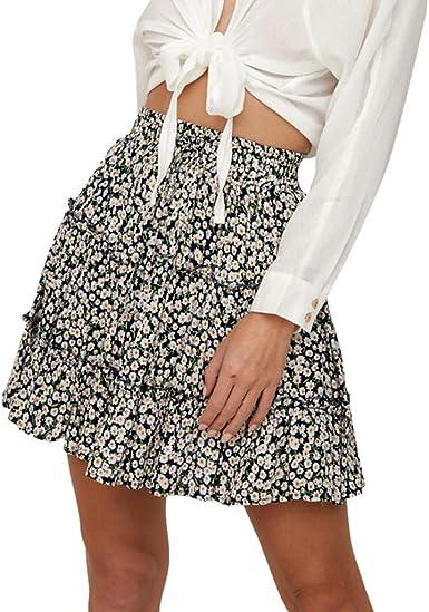 BBsmile Falda Mujer Elegante Cintura Alta Rizado Estampado Floral ...