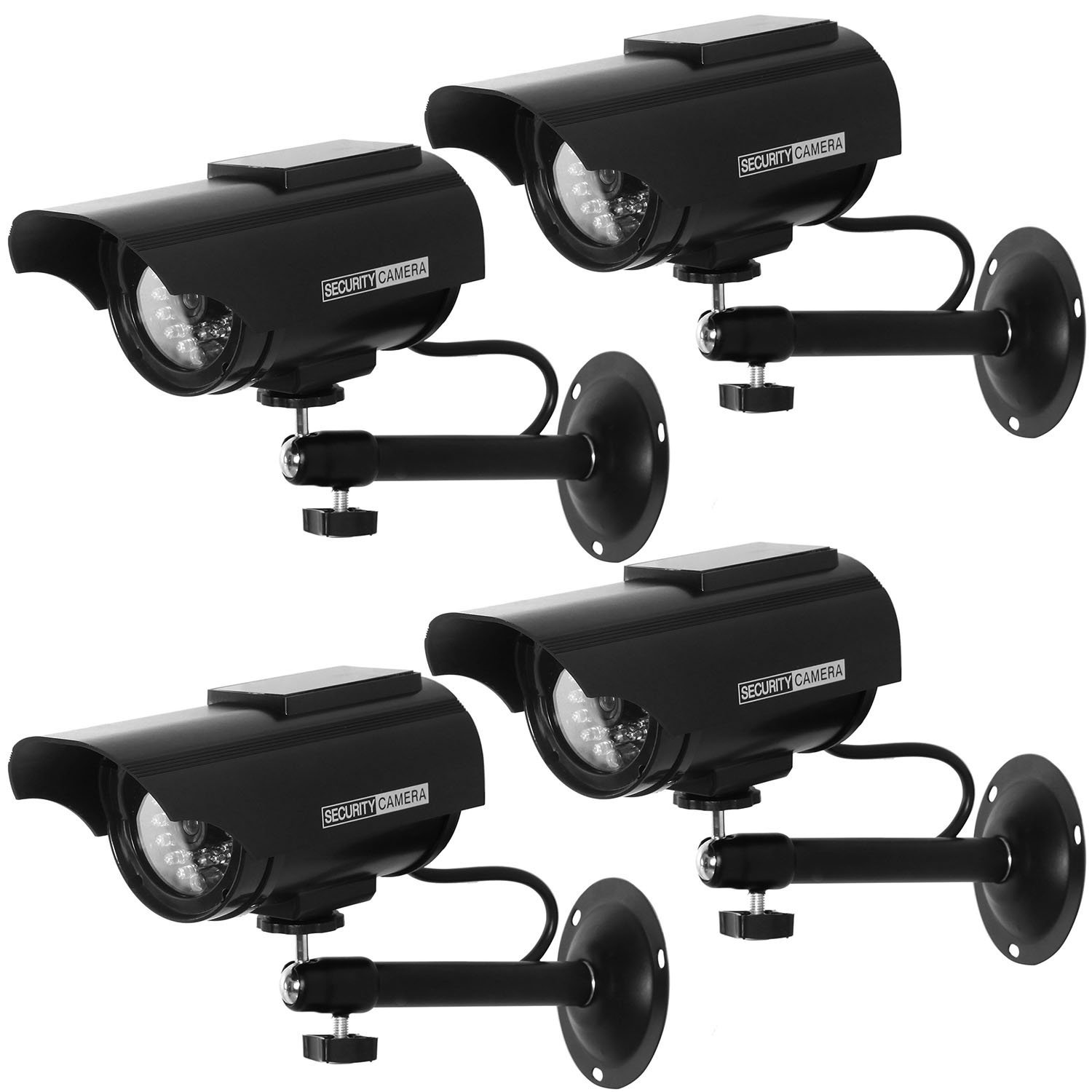 WALI Solar Powered Bullet Dummy Fake Simulated Surveillance Security CCTV Dome Camera Indoor Outdoor with One LED Light, Warning Security Alert Sticker Decal (SOLTC-B4), 4 Packs, Black