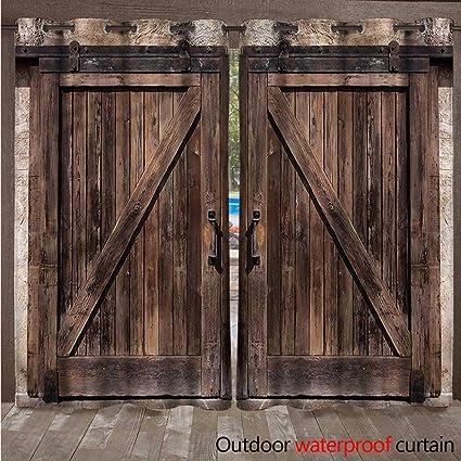 Amazon.com : CobeDecor Rustic Outdoor Ultraviolet Protective Curtains Wooden  Barn Door Image W72 X L84(183cm X 214cm) : Garden U0026 Outdoor