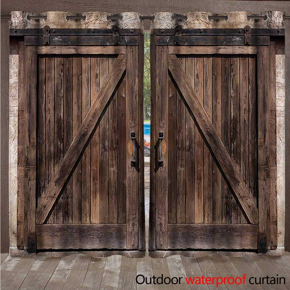 cobeDecor Rustic Home Patio Outdoor Curtain Wooden Barn Door Image W84 x L84(214cm x 214cm)