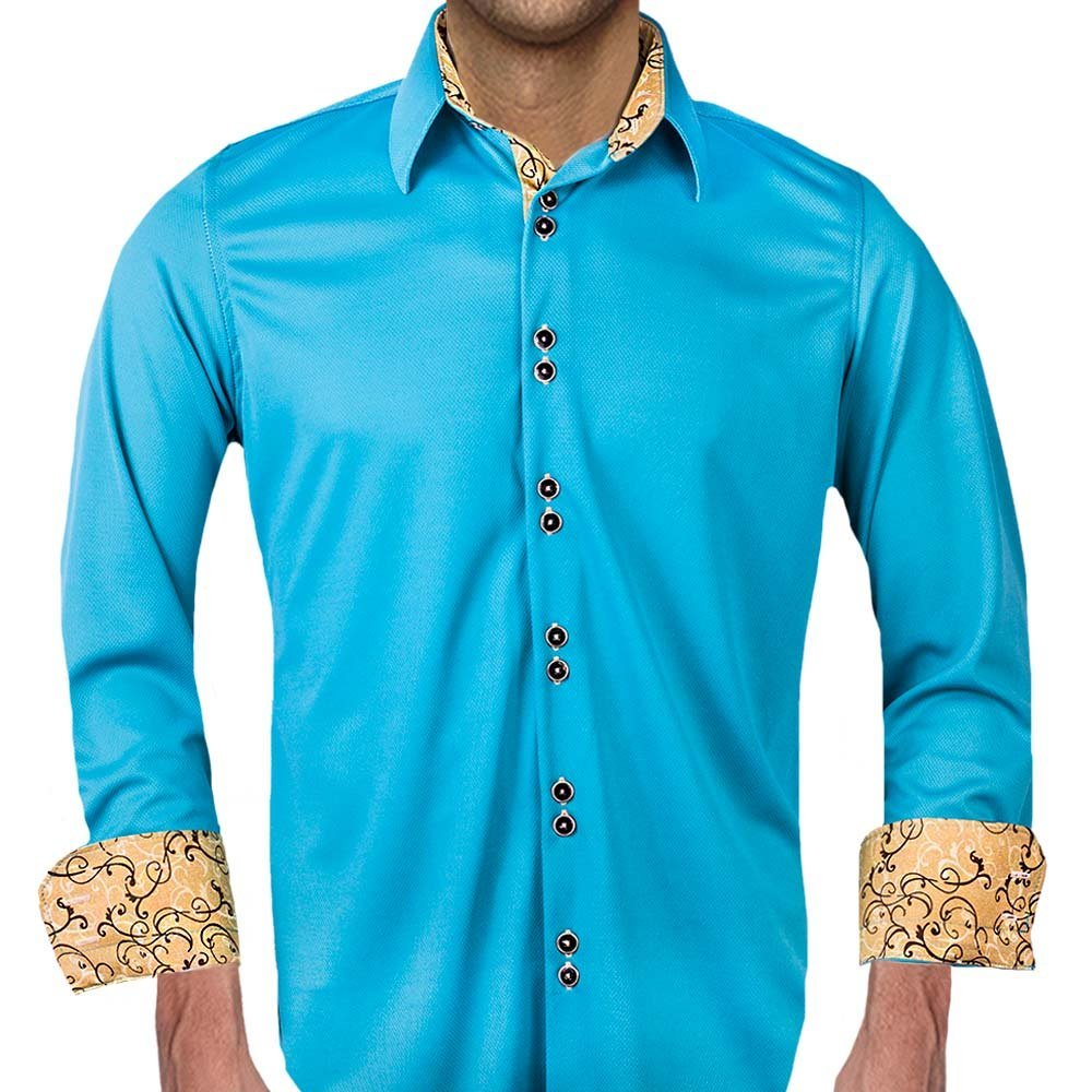 Turquoise Moisture Wicking Dress Shirts - Made in the USA