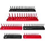 Thorbuyys 6PCS Socket Organizer Tray Set Red SAE & Black Metric Socket Storage Trays 1/4-Inch 3/8-Inch & 1/2-Inch Drive…