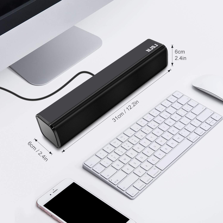 NJSJ Computer Sound Bar Speaker,USB Powered Wired Stereo Speakers with 3.5mm Aux Input Laptop//Cellphones Black Mini Soundbar for PC //Tablets// Desktop