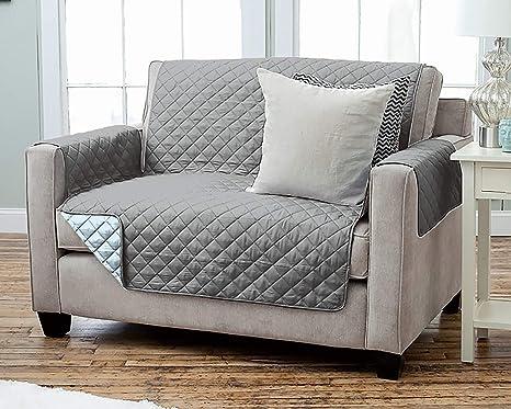 Kamaca - Funda para sillón Reversible con reposabrazos y Bolsillos, cálida y Suave, para Proteger el Respaldo del Asiento, poliéster, 2 Sitzer ...