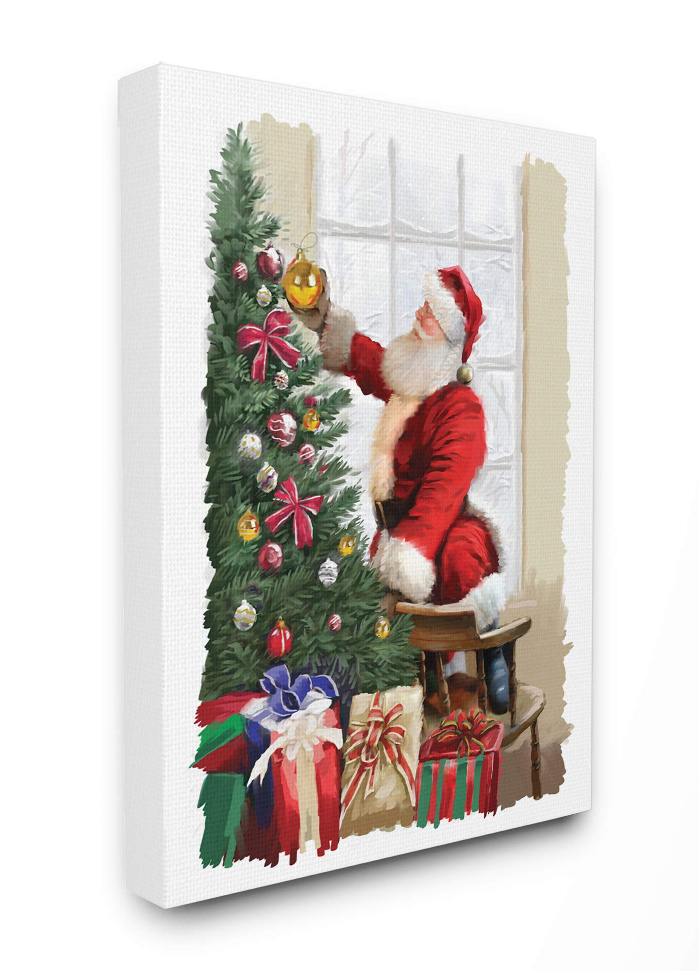 The Stupell Home Décor Collection Holiday Santa Decorating Christmas Tree with Gifts Painting Stretched Canvas Wall Art, Multi-Color
