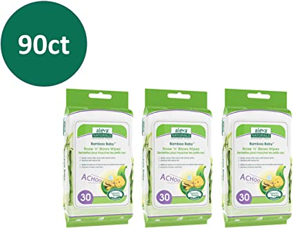 Aleva Naturals Bamboo Baby Nose n Blows Wipes 3 X 30ct = 90ct 90 Count