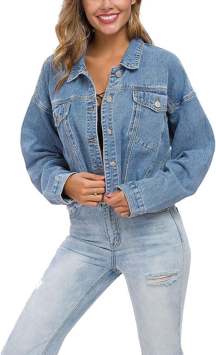 Cantonwalker Loose Womens Denim Jean Jacket,Oversize Vintage denim jacket,Long Sleeve Boyfriend Denim Jacket coat