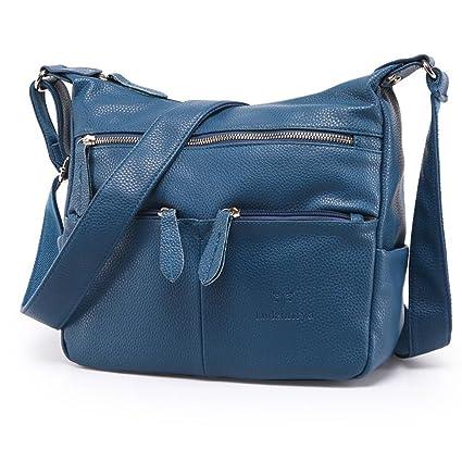 Borsa a tracolla da donna casual vintage in morbida pelle (Blu)