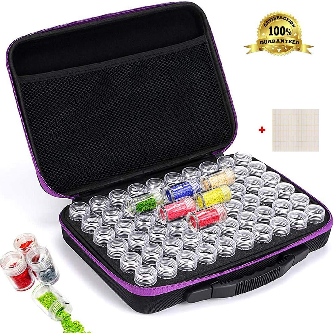 Diamond Painting Storage Container Beads Organizer Storage Box with Tools Diamond Painting Case Tools Set with 84 Bottles Organizer Accessory Case Roller and Diamond Painting Tools