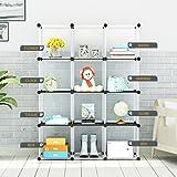 12-Cube Modular DIY Storage Cube Organizer by KOUSI 4 tier Shelving Bookcase Cabinet Closet White