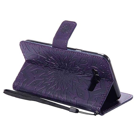 pinlu® Flip Funda de Cuero para Samsung Galaxy J7 (2016) J710 Carcasa con Función de Stent y Ranuras con Patrón de Girasol Cover (Púrpura)