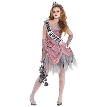 10-12 Years - Girls Zombie Prom Queen Fancy Dress Costume Halloween Kids Teen Outfit