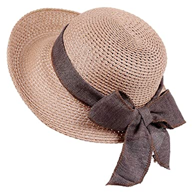9783e9cadde Sun Straw Hat-Womens Floppy Hats Beach Summer Fashion Caps with UV  Protection Roll Up