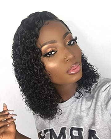 Amazon.com   YOUDO Hair Black Women 360 Curly Brazilian Virgin Hair Lace  Front Wigs Human Hair Wigs Glueless With Baby Hair(18 Inch With 180%  Density)   ... 47e6e94989