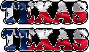 "Lplpol Bumper Decal 2-3"" Texas Text Decal Set Flag Texan Lone Star Tx Longhorn Window Bumper Sticker for Envelope Laptop Fridge Guitar Car Motorcycle Helmet Luggage Cases Decor"