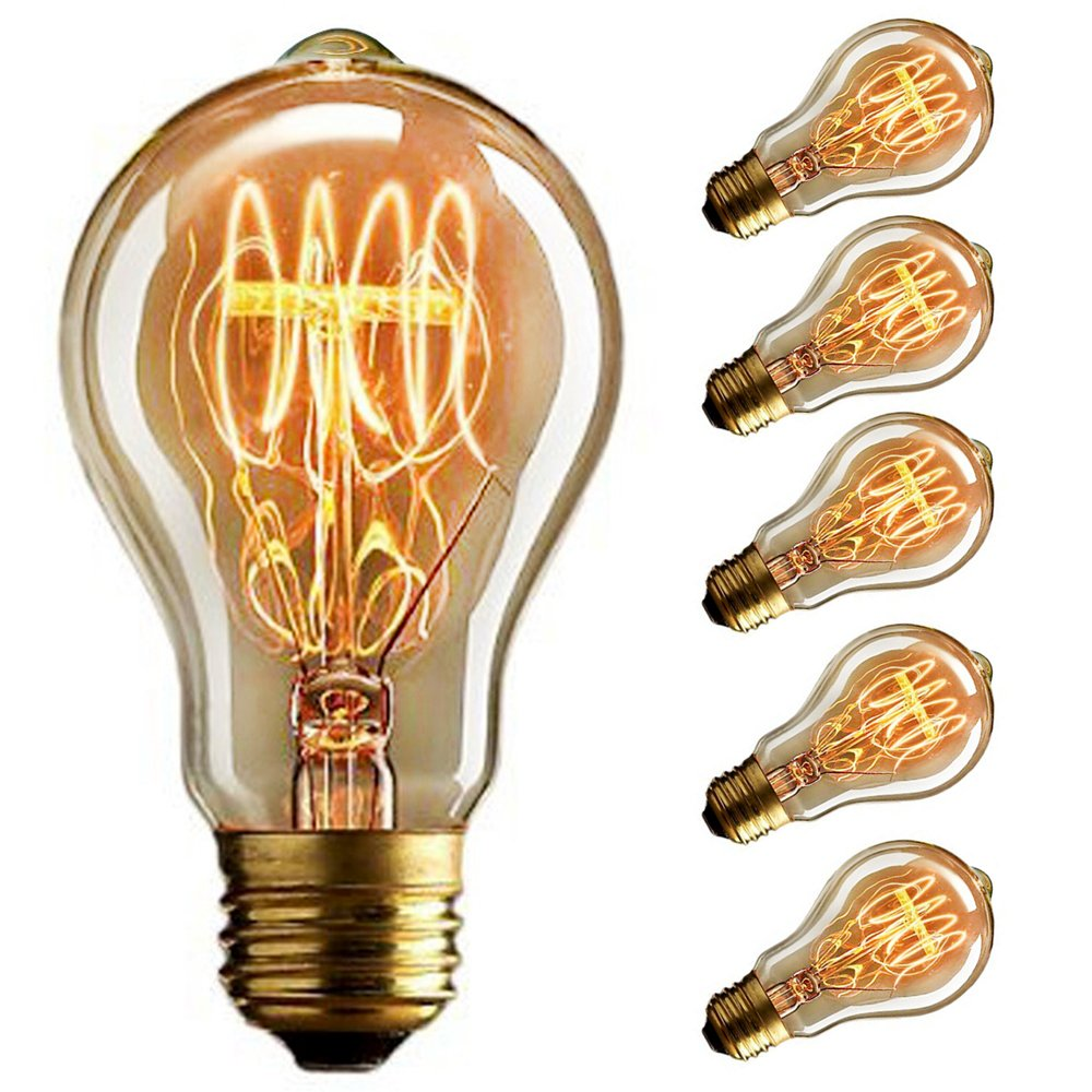 old fashioned Edison E27---6 St/ück quad loop filament Cmyk DIMMABLE Vintage light bulb