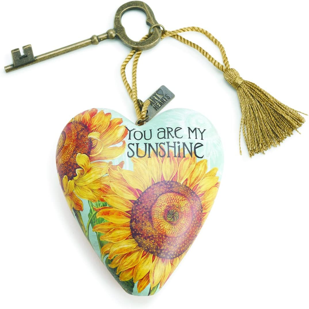 DEMDACO You Are My Sunshine Sunflower Yellow 4 x 3 Inch Heart Shaped Resin Keepsake Decoration