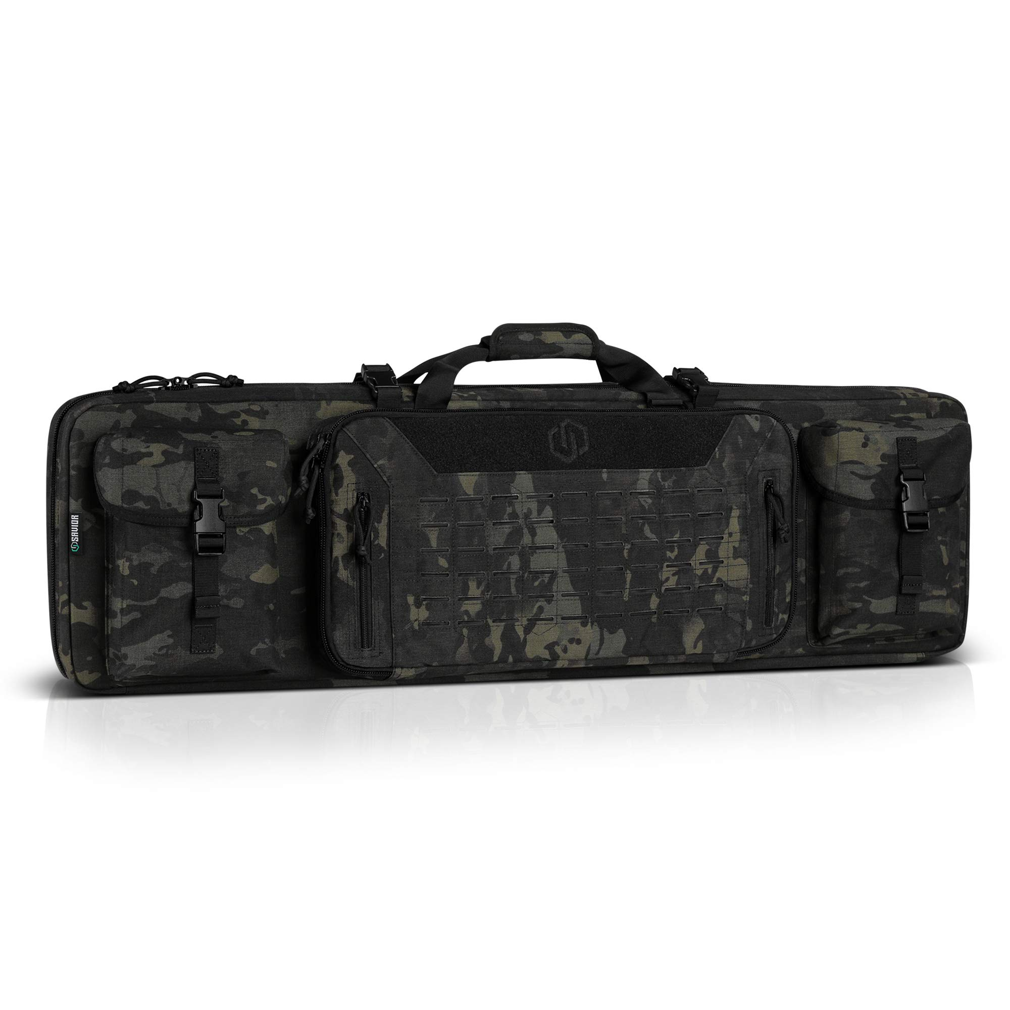 Savior Equipment 42'' Urban Warfare Multicam Black Tactical Double Carbine Long Rifle Bag Firearm Gun Case w/Removable Backpack Strap - 1000D Cordura Nylon Fabric, UTX Buckles, YKK Zippers by Savior Equipment